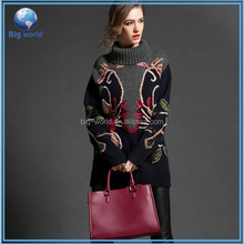 Knitted sweater woman& latest design ladies sweater&woolen sweater designs for ladies BF-015