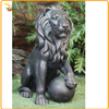 Garden Decor Life Size Sitting Lion With A Ball Sculpture For Sale