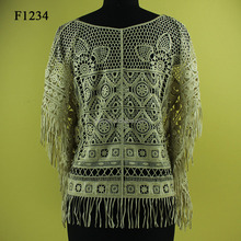2015 newest cotton crochet lace women no sleeve net fit wraps design