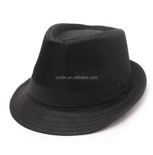 hot selling black fedora hat with white band