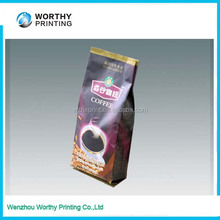 stand up 250g/500g/1kg custom logo print aluminium foil coffee tea bag with valve manufactuer/foil coffee bag with valve