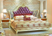 European Style Elegant Double Bed, Palace Princess Purple King Size Bed, Luxury Bedroom Furniture Set (BF01-ML028)
