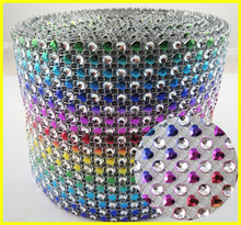 Colorful Plastic Base Crystal Mesh For Girls Clothing