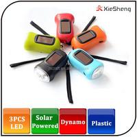 Hot sale warranty 1 year 3 led portable mini solar powered hand shake generator flashlight led dynamo flash light