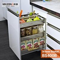 Kitchen Cabinet Basket OEM Manufacturer Stainless Steel Pull Out Storage Drawer Spice Bottles Rack Sliding Basket BS400B
