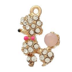 "Charm Pendants Poodle Dog Gold Plated Clear Rhinestone Enamel 21.0mm( 7/8"") x 15.0mm( 5/8""), 5 PCs"