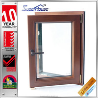 Double glazed windows as/nzs standard aluminum and wooden tilt and turn hinge crank windows