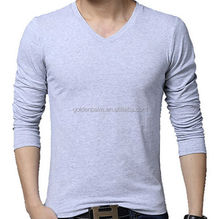 Custom men t shirt hot sale popular long sleeve V neck t shirt nanchang factory
