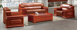 Office furniture carving wood frame and leather office sofa,waiting room sofa