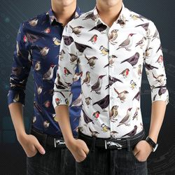 Spring loaded new men's shirts long-sleeved shirt Slim shirt printing Birds