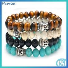 wholesale hottime fashion buddha head bracelet semi-gemstone bead buddha bracelet mens jewelry