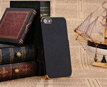 Luxury Leather Chrome Hard Back Frame Case Cover For iPhone 5 5S Black Gold Trim, high quality back cover for iphone 5S