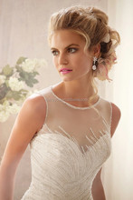 (MY2602 ML)Marry You 2015 Hot New Arrival White Satin And Tulle Chiffon Beading Covered Back Wedding Dress China