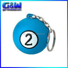Custom Printed Blue Colors 4cm PU Billiard Ball Pool Ball Keyrings for Cheap Wholesale