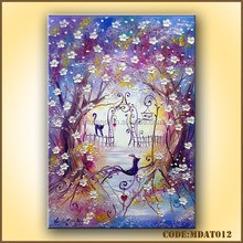 Cartoon canvas flower oil painting of small white flowers