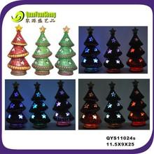 height 25cm led light resin christmas tree ornament