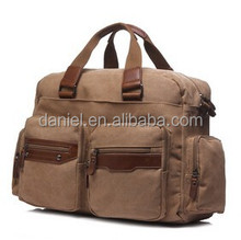business bag mens leather handle canvas bag with leather trim
