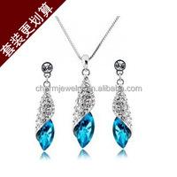 2014 new set Crystal Earrings Necklace Set the memory of sea Desert light ST012