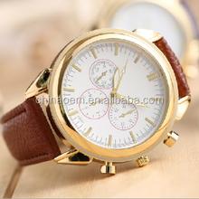 Golden wonderful design luxury cheap wrist cow leather watch