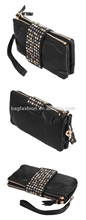 Korean Black Style PU Leather fashion Rivet Clutch Purse Wallet