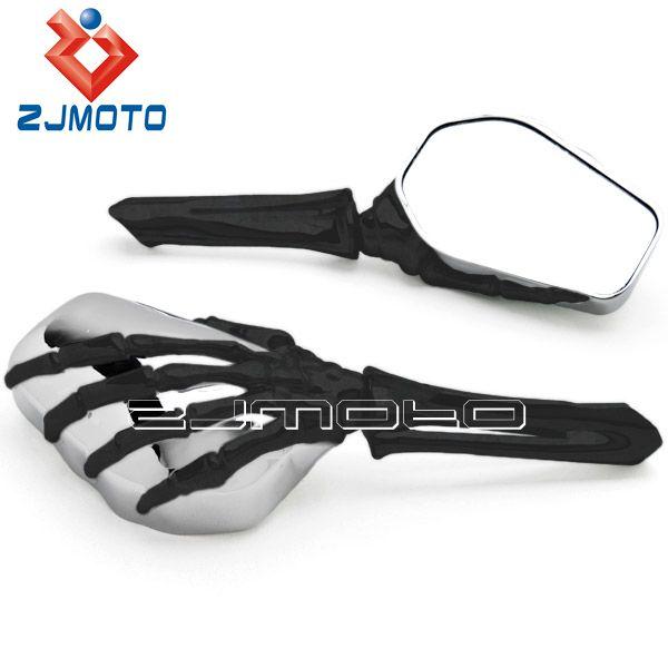 Moto universal chrome esqueleto mano espejos retrovisor for Espejo universal para moto