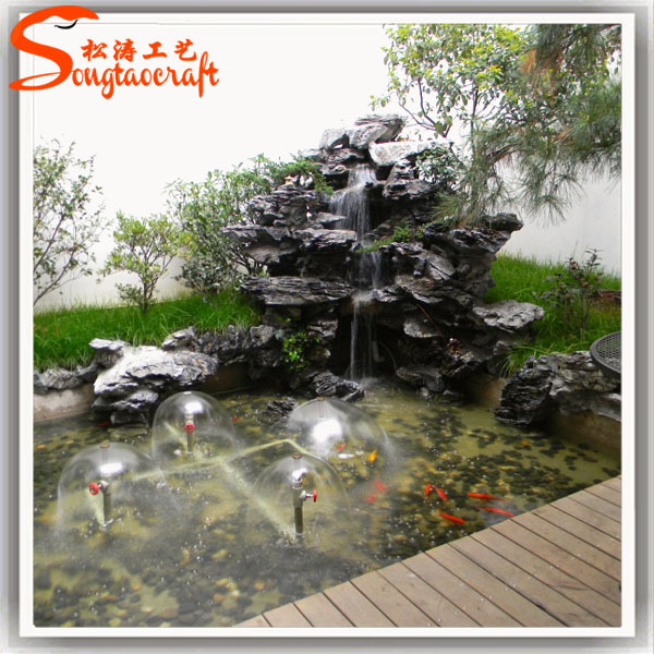 Indoor decor garden pond fiberglass fish ponds stone for Garden pond waterfalls for sale