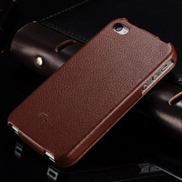 3.5 inch brown inside colorful outside real leather for Apple Iphone 4S luxury fashion brand name phone case