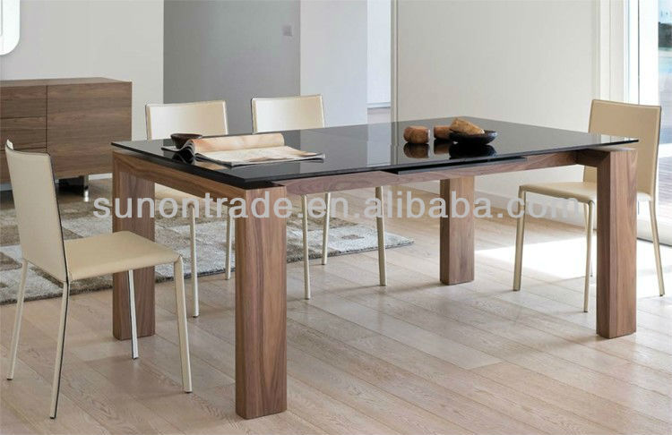 Glass Top Wood Veneer Walnut Legs Dining Table