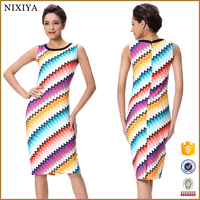Sleeveless Bodycon Modern Rainbow Dress For Old Lady