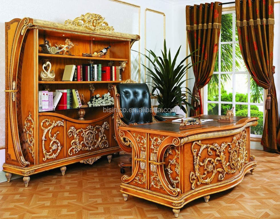 Luxury french executive wooden office desk new baroque Luxury wood furniture