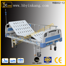 YKB002-12 Crank Hospital bed ,best quality patient manual bed with side rail