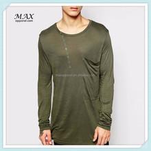 Custom Olive Mens Long Sleeve Cotton Oversized O-neck T-shirt Men