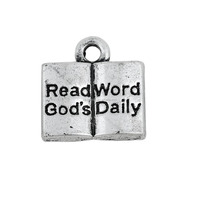 Rligious Zinc Alloy Antique Silver Open Book Engraved Read God's Word Daily Charms
