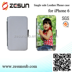 good quality sublimation single sider printalbe pu leather case for iphone 6