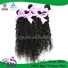 Professional and Cheap virgin human hair Indian natural curly hair weave kinky curl sew in hair weave