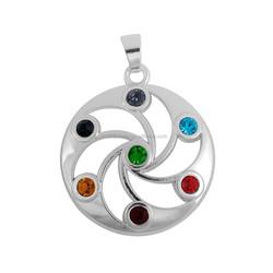 Online Selling Rhodium Plated Chakra Seven Crystal Cosmic Energy Pendant