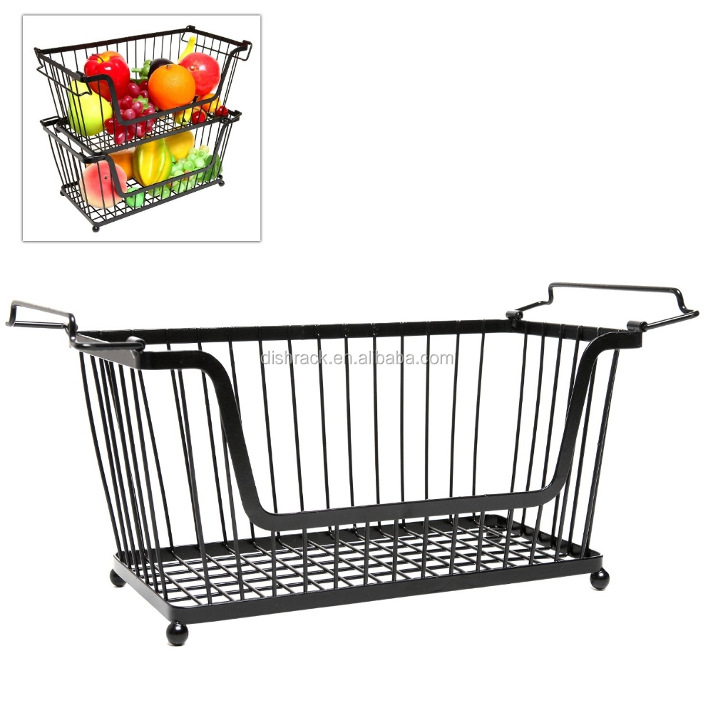 space saving home and kitchen storage wire fruit basket. Black Bedroom Furniture Sets. Home Design Ideas