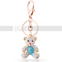 Animal Zinc Alloy Key Chain for Female Toy Bear Buckle Lovely Handbag Crystal Hanging