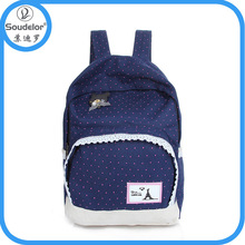 2015 wholesale fashion school girls colorful canvas high school backpack
