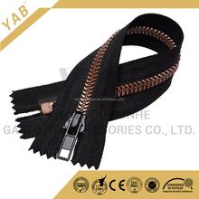YAB Black Tape Wing- Shape Teeth Plastic Zipper For Women Bags
