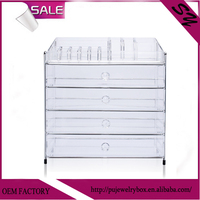 Acrylic five tier cosmetic display stand with lipstick holder