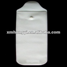 white plastic vinyl pouch with button closure