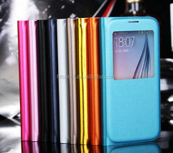For Samsung Galaxy S6 Window Flip Pu Leather Case With PC Cover