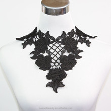black rose embroidery neck lace fabric trim with mesh for ladies garments in china