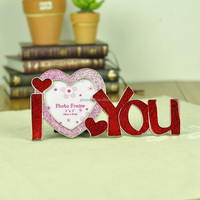 Hot New Sexy Sweet I love you 3x3'' heart shape Metal Alloy Photo Picture Frame For Wedding Gifts