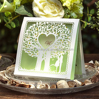 China Import Enchanted Forest I Mint Green Tree Laser Cut Wedding Invitations