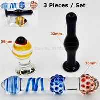 3 pieces Exotic Pyrex Glass dildos fake penis dick Anal butt plug Female masturbation products Sex toys set for women men adult