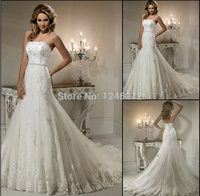 Hot New Elegant White / Ivory Beaded Strapless Court Train Appliqued Tulle Lace Mermaid Wedding dresses 2015