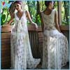 Yihao 2015 Fashion Women Honeymoon White Lace Maxi Dress , Women Summer Beach Dress, Sexy Beach Wear