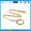 New Various Color Strip print Type Cute Dog Puppy Collar with Leash Bell Attached